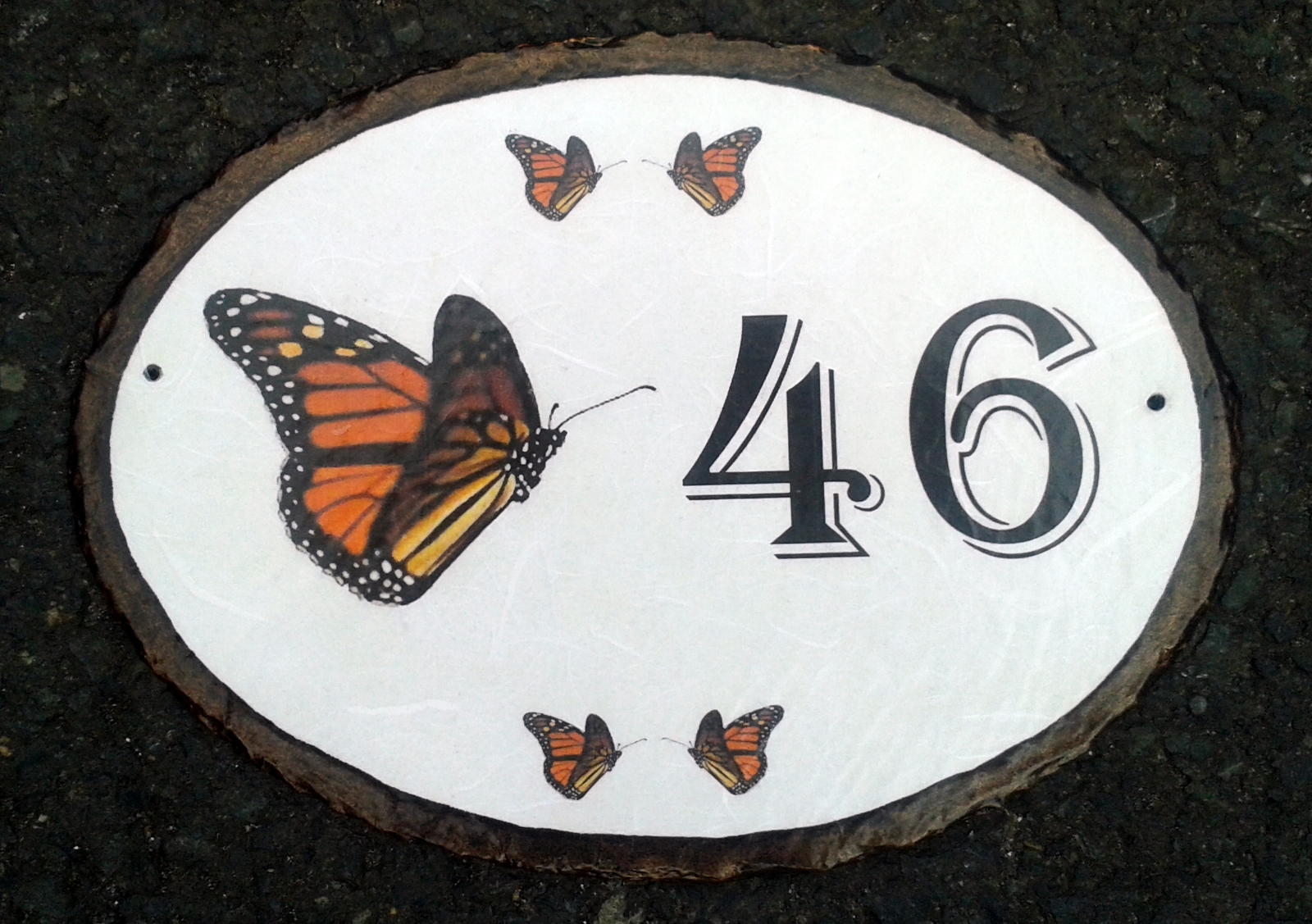 Butterfly 46 Slate House Sign